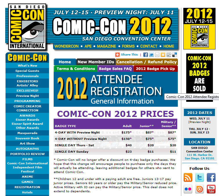 Free Comic Book Day San Diego: Comic Con 2012 Passes Sell Out In Minutes.